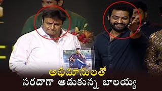 Balakrishna and Jr NTR  Fun Moments With Fans at Aravinda Sametha Success Meet || Filmylooks