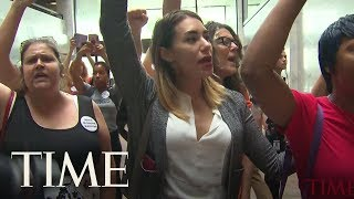 More Than 50 Protestors Opposing Kavanaugh
