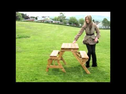 Wood Picnic Bench and Table * 2 in 1 * - YouTube