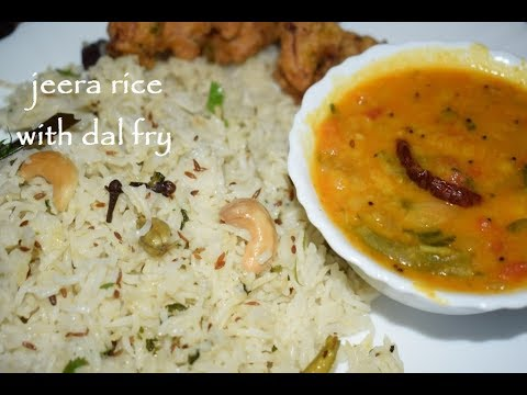 Jeera Rice With Dal Fry Recipe / Party Style Jeera Rice Dal Fry / ಜೀರಾ ರೈಸ್ ದಾಲ್ ಫ್ರೈ / Veg Thali