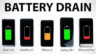 Google Pixel 2 vs iPhone X vs OnePlus 5T vs Galaxy S8 - BATTERY DRAIN Test!