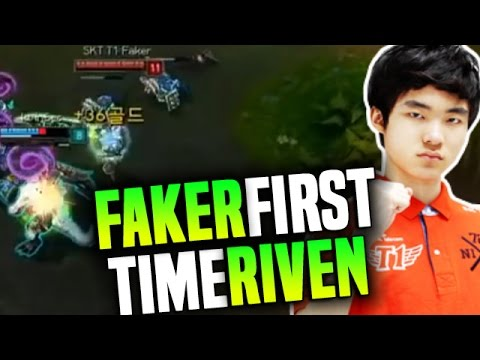 Faker First Game With Riven In Competitive Korea! - SKT T1 Faker First Professional Game With Riven