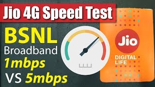 Reliance Jio 4G Speed vs BSNL Unlimited Broadband BB249 Speed | Performance