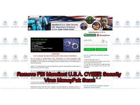 Remove FBI Mandiant U. S. A.  CYBER Security Virus MoneyPak Scam