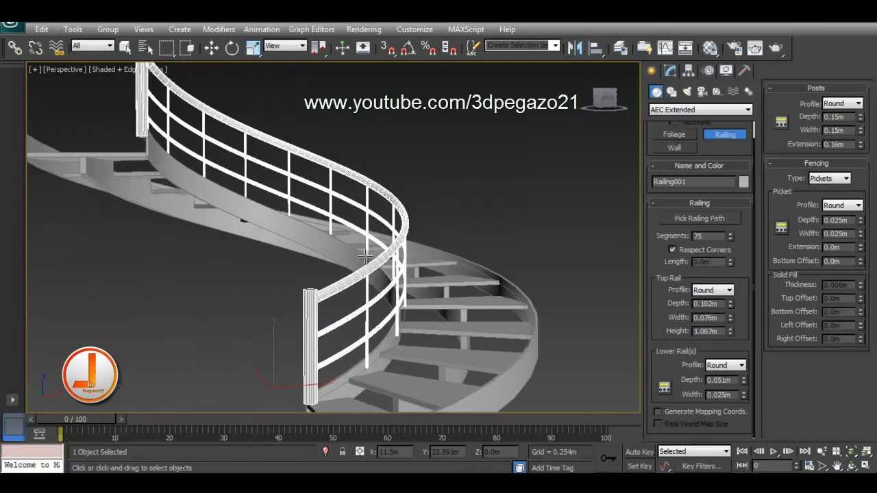 Escalera helicoidal en 3ds max youtube for Escaleras 3d max