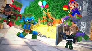 MINECRAFT: ESCOLA DE ANIMATRONICS - TARTARUGAS NINJAS SEQUESTRARAM O FREDDY (FIVE NIGHTS AT FREDDYS)