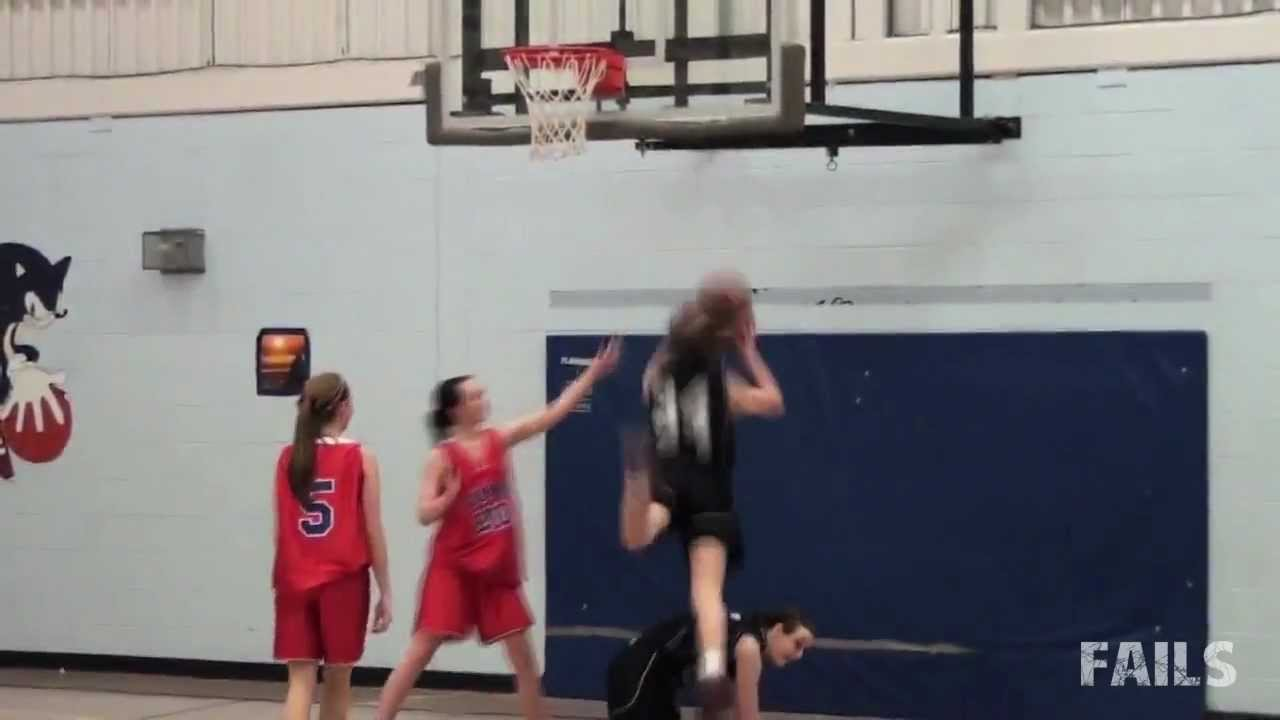girls basketball dunk fail youtube