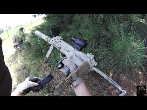 Airsoft Battle KWA MP7SD, A&K MK46 Contour ROAM Helmet & Face Cam ABS51