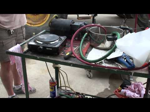 Vaporizing Gasoline-Diesel Fuel-Rubbing Alcohol on a Hot Plate 8-31-2011
