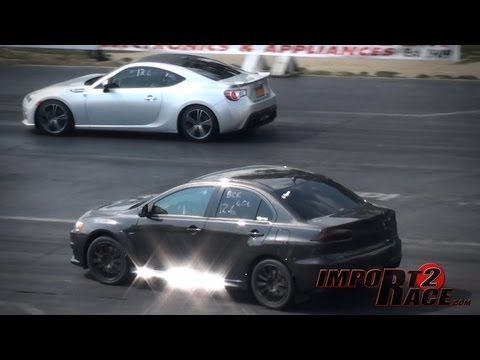Turbo BRZ Subaru vs EVO X GSR Drag Race