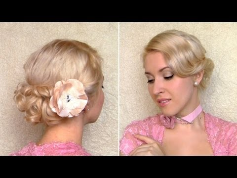 Easy Valentine's day, prom hairstyle for medium hair Curly wedding updo for shoulder length hair