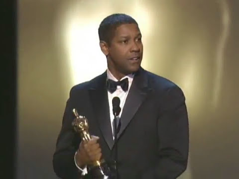 Denzel Washington winning an Oscar® for