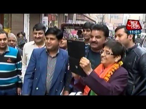 BJP's CM face Kiran Bedi tours Krishna Nagar, Delhi