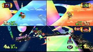 Mario Kart Double Dash!!: Rainbow Road 4 player Netplay race 60fps
