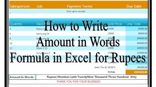 How to Convert Amount in Words in Excel for Rupee or ANY currency.