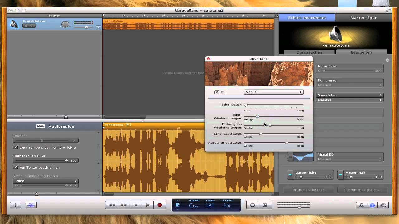 how to use auto tune garageband