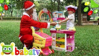 Su Hao Pretend Play with Store Super Market Toy and Santa Claus | BaBaTV