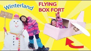 Flying Airplane Box Fort ! Lets Travel ! Winterland !