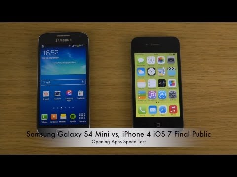 Samsung Galaxy S4 Mini vs. iPhone 4 iOS 7 Final Public - Opening Apps Speed Test