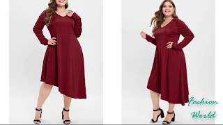 Latest Plus size girl dress collections / Plus size western dress collections | long sleeve- 2019