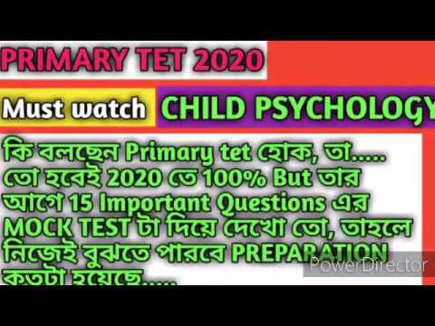 Primary tet 2020/Child psychology MOCK TEST 15 Important questions