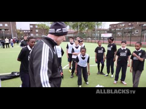 All Blacks Sevens with AIG kids in London