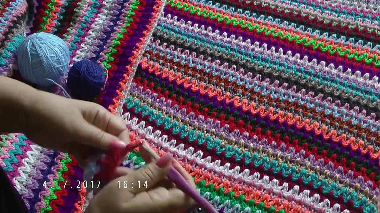 Вязание крючком из остатков пряжи коврик 69