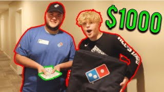 Tipping Dominos Pizza Guy $1,000!
