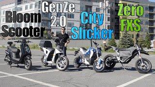 Urban ELECTRIC scooter & motorcycle comparison! (Zero vs GenZe vs City Slicker vs BloomScooter)