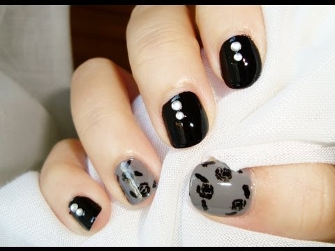 Diseño uñas cortas: rosas de otoño negro gris / Short nails design: autumn fa