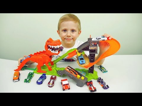 ХОТ ВИЛС АТАКА ДИНОЗАВРА - Даник и машинки Hot Wheels Dinosaur T-REX - Cars for Kids
