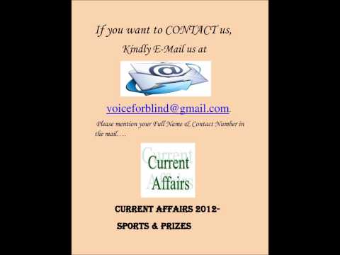 Current affairs related to sports & prize (By Anita Sharma)