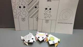Daily Origami: New Free Printables - Color Your Own Frog
