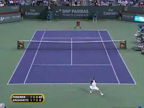 GREAT TENNIS @ Indian Wells 2010 (RF v Baghdatis).flv Music Videos