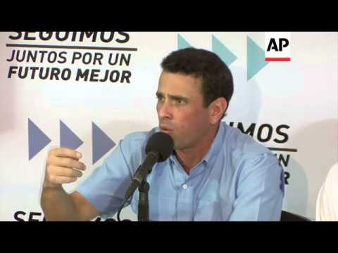 Opposition leader Capriles holds news conference amid uncertainty about ailing Chavez