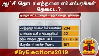 ஆட்சி தொடர எத்தனை எம்.எல்.ஏக்கள் தேவை..?  | By-Elections 2019 | Thanthi TV