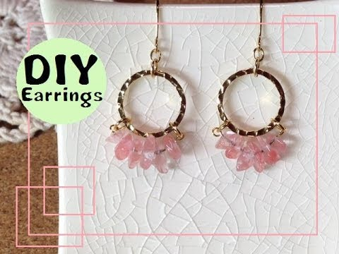 223 , YouTube , DIY Earrings 簡単かわいい!サザレ石 フープピアス 作り方