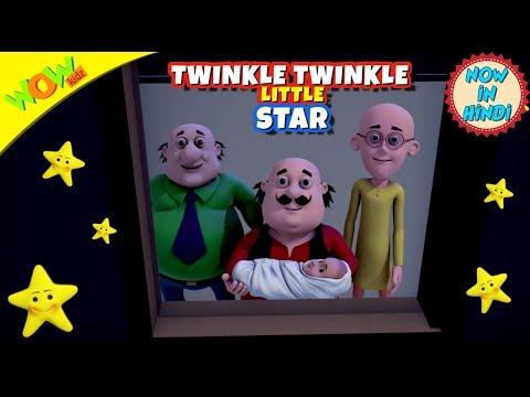 Twinkle Twinkle Little Star | 3D Animated Kids Songs | Hindi Songs | Motu Patlu | WowKidz thumbnail