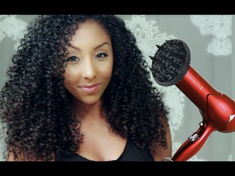 How to get BIG CURLY HAIR with a diffuser ...