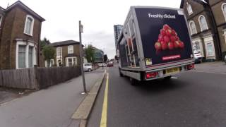 Pointless close pass by Tesco delivery van. BD12YOO