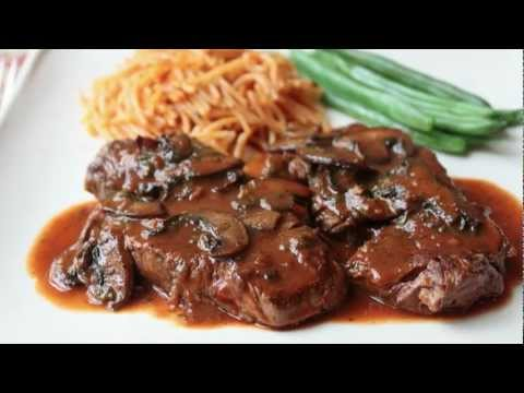 Seared Beef Tenderloin Medallions with Caramelized Tomato & Mushroom Pan Sauce