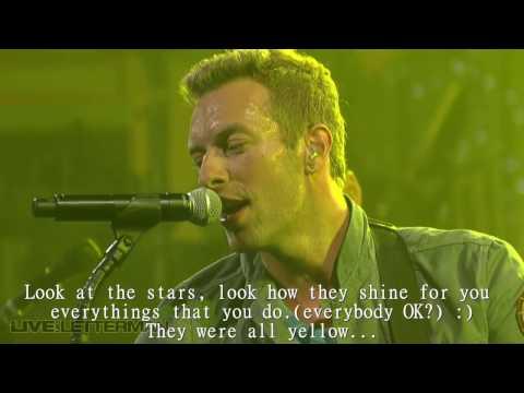 Coldplay - Yellow | Live | LYRICS