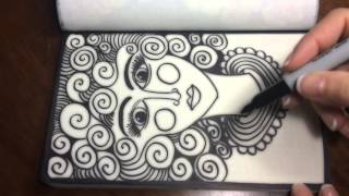 ASMR Doodle Face (ASMR, drawing, doodling, tingles, tangles, zentangle, no talking)