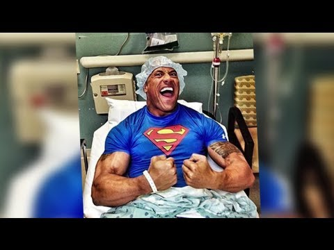 Johnson Flexes His Muscles in Hospital Bed After Emergency Surgery