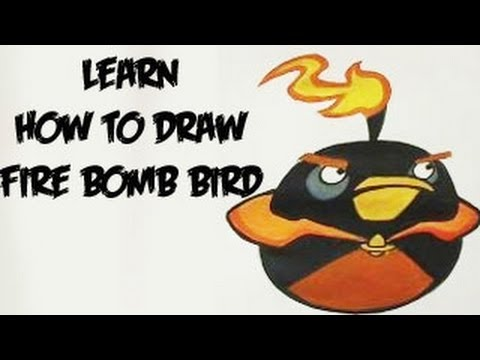 Learn how to draw Angrybirds Space - Fire Bomb Bird (Real Time)