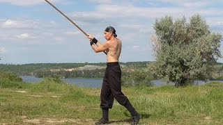 Martial arts: long stick, rotation, training.
