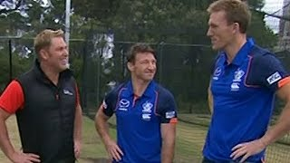 Brent Harvey and Drew Petrie face Shane Warne  (Channel 9)