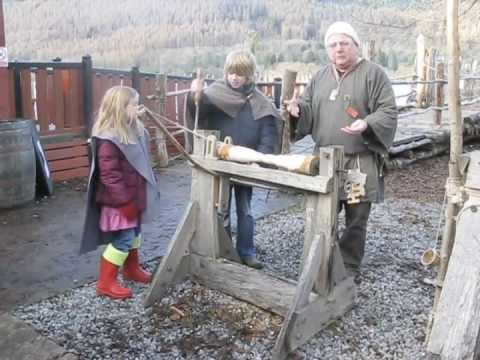 Scottish Crannog Centre - Bow Lathe Demonstration