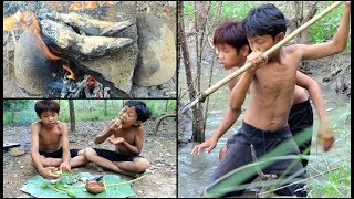 Primitive Technology - Find and cooking fish on a rock
