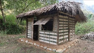 Primitive technology - Use the stone to make primitive hut, Made of bamboo (Part-2)